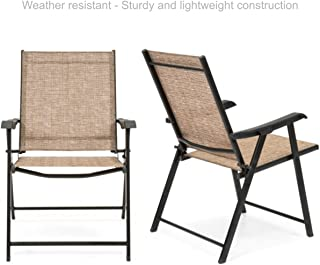 Koonlert@Shop Outdoor Patio Folding Sling Back Chair Sturdy Steel Frame Durable Lightweight Comfortable Breathable Stretchable Mesh Material Patio Porch Garden Furniture - Set of 2 Tan #1780(2)