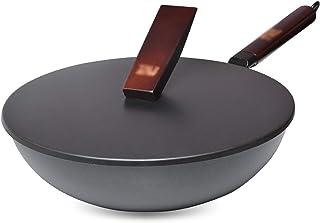SHYPT Wok De Cuisson Ménage Grand Pot En Fer À L'ancienne Poêle Antiadhésive Non Revêtue Wok À Fond Rond Wok Frit De Chef