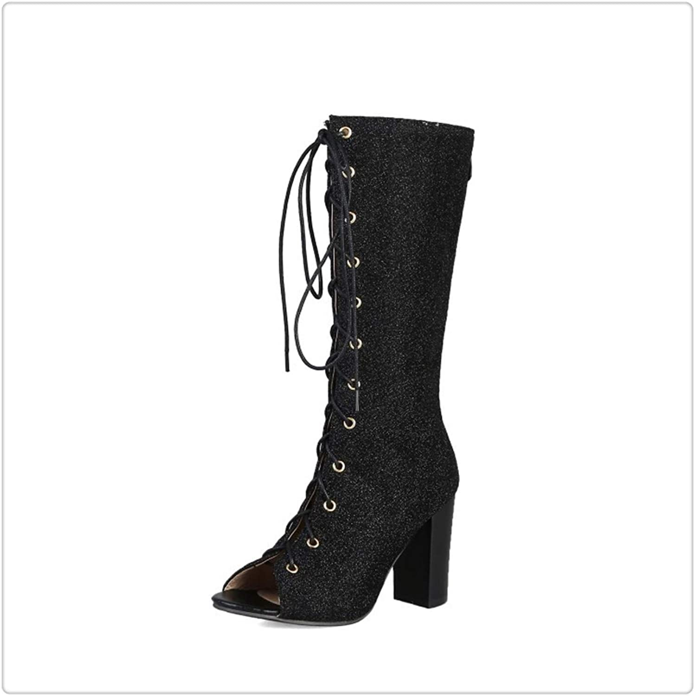 Msanlixian Vintage Mid Calf Boots Summer Gladiator Sandals Women 2019 Peep Toe Lace Up Chunky Block High Heels shoes Female Plus SZ Black 4.5