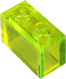 LEGO Parts and Pieces: Transparent Neon Green 1x2 Brick x50