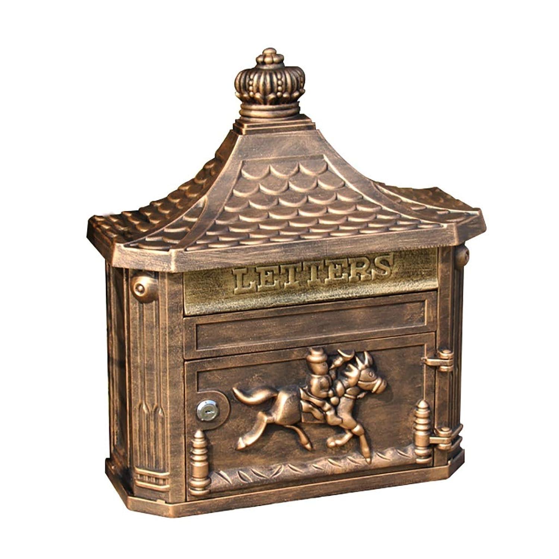 外箱、壁掛け郵便箱、屋外郵便箱、大容量安全郵便箱、装飾郵便箱、サイズ45.3 * 41 * 16cmのためのメールボックス (色 : Gold color)
