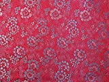 Brokat-Stoff mit floralem Muster, Kirschrot / Pink / Blau