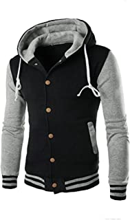 UOFOCO Winter Slim Hoodie Warm Hooded Men Coat Jacket Outwear Sweater Sweatshirt