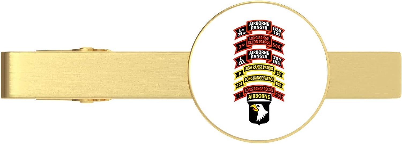 HOF Trading Gold US Army 101st Airborne Division, 1st BDE Long Ranger Reconnaissance Platoon Gold Tie Clip Tie Bar Veteran Gift