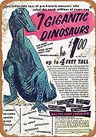 巨大な恐竜コミックティンサインの装飾ヴィンテージ壁金属プラークレトロアイアン絵画カフェバー映画ギフト結婚式誕生日警告