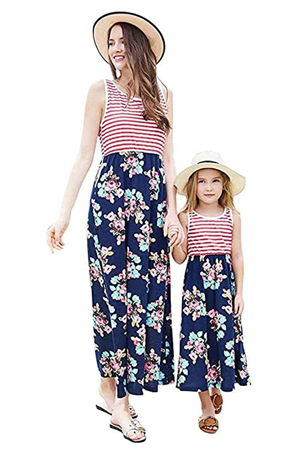 Mother Daughter Dresses Casual Sleeveless Floral Family Outfits Summer Matching Maxi Dress
