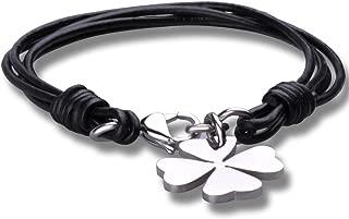 Moda Unisex Acero Inoxidable Cuero Trenzado Pulsera Brazalete Trébol de cuatro hojas, Negro