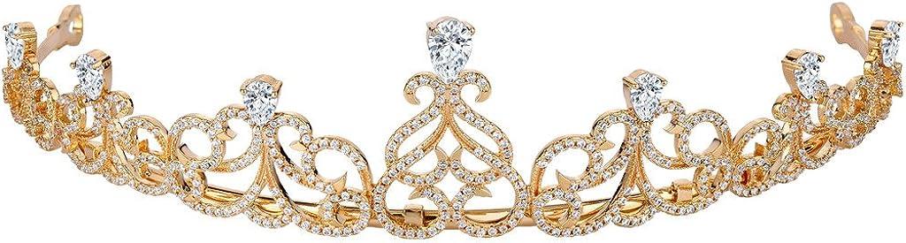 EVER FAITH Women's Cubic Zirconia Wedding Elegant Knot Tear Drop Hair Band Tiara