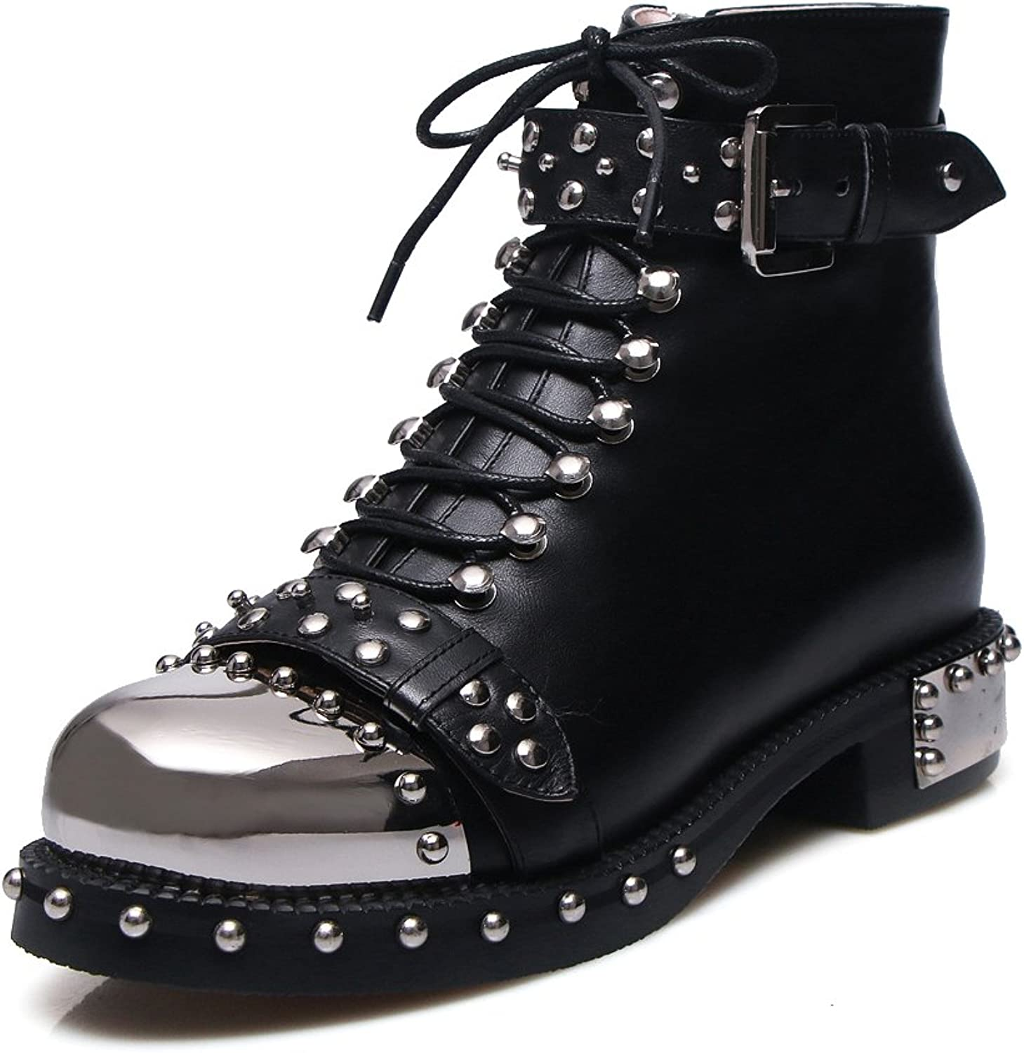 NIQI Women Genuine Leather Studded Rivets Flats Lace Up Sequins Military Combact Short Ankle Boots