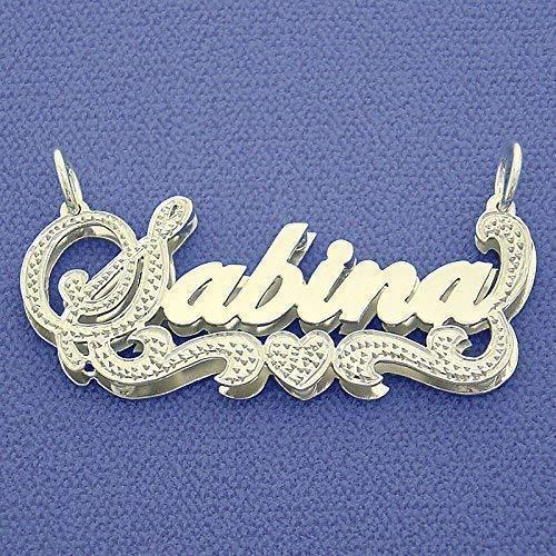 Silver 3D Double Plates Diamond Accent Script Nameplate Pendant Personalized Necklace
