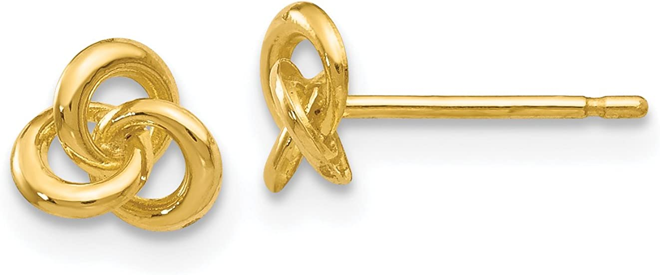 Polished Trinity Knot Button Post Earrings in Real 14k Gold