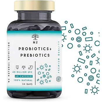PROBIOTICI e PREBIOTICI Intestinali, 40 miliardi di Batteri Probiotici Naturali con Inulina. Protezione diFlora Intestinale, Rafforzamento del Sistema Immunitario 60 Capsules N2 Natural Nutrition