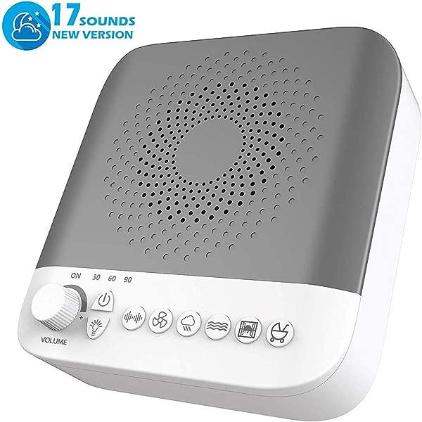 白噪声机器睡眠声音机器 17 非循环舒缓声音婴儿成人儿童睡眠放松高品质扬声器便携式睡眠理疗机