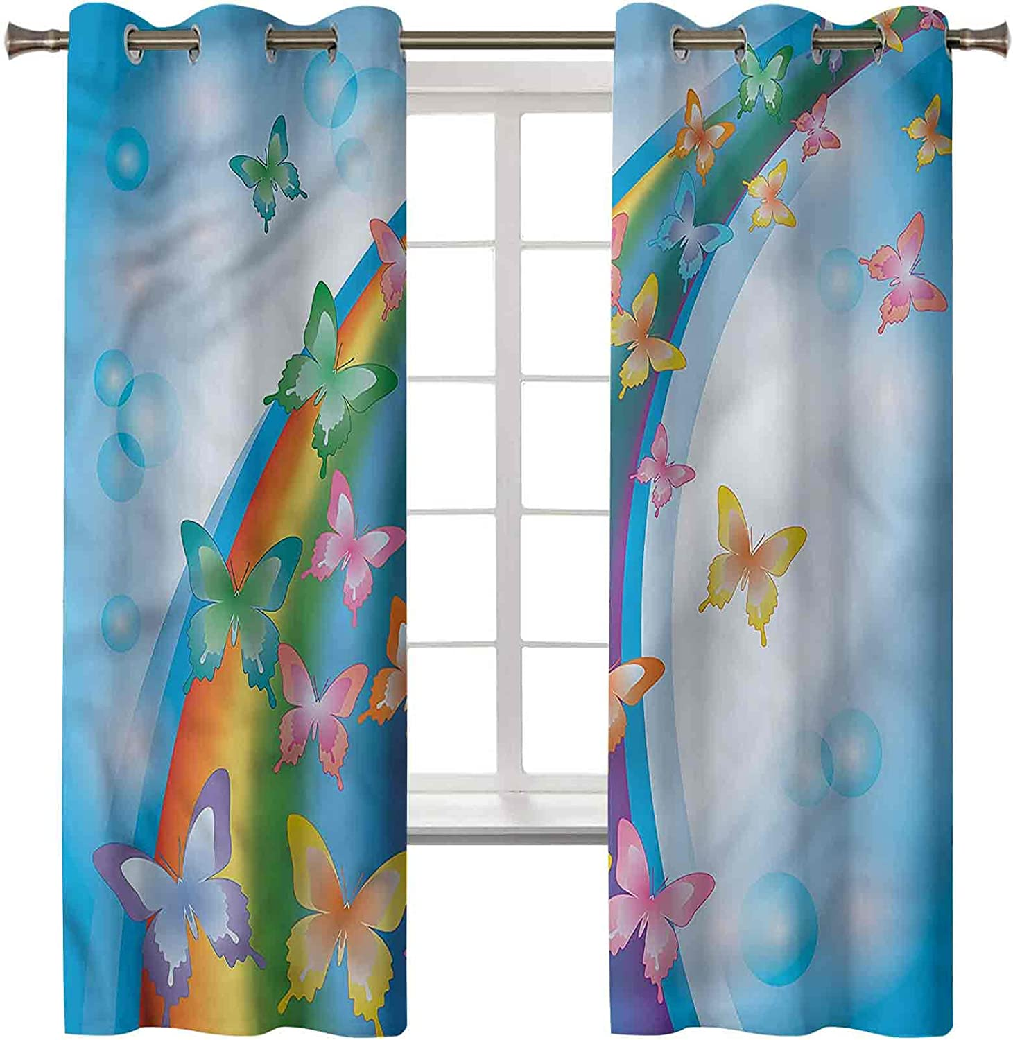 Butterfly Thermal Insulated Curtains Cheap mail order specialty store Set of x In 84 42 Panels 2 Max 83% OFF