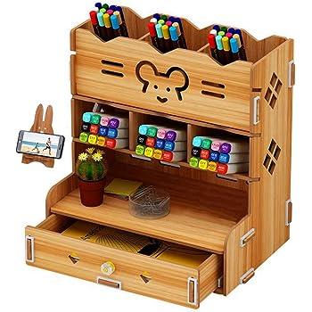 C£¦Life DIY Wooden Desk Organizer with Drawer, Pen Holder Box Desktop Stationary for Home Office School Supply Storage
