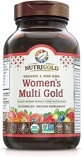 Nutrigold Organic Multivitamin for Women, Women's Multi Gold, 90 Capsules, Plant-Based Whole Food Multivitamin with Iron, Non-GMO, Vegan, Kosher