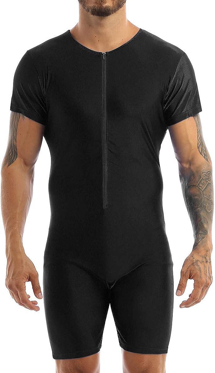 Shinsto Mens Stretchy Short Sleeves Leotard Gym Workout Athletic Wrestling Singlet Bodysuit