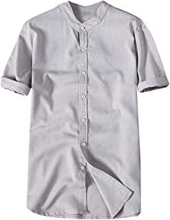 OrchidAmor Fashion Mens Autumn Winter Button Casual Linen and Cotton Short Sleeve Blouse