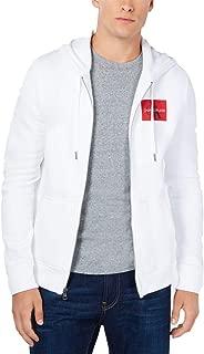 Calvin Klein Jeans Men's Zip-Front Monogram Hoodie (White, XXL)