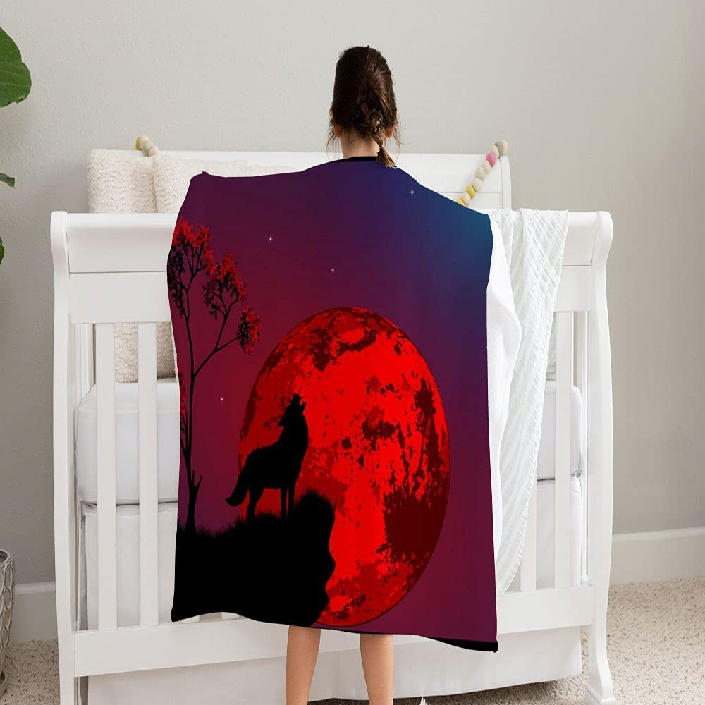 Gifts Detroit Mall GANTEE Howling Wolf On Cliff Blanket Super Cozy Fleece Soft and