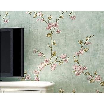 Papel Pintado de Flores de Jardín Vintage Verde Moderno No Tejido Papel Pintado Rollo para Recámara Sala de Estar Habitación de los Niños Sofá TV Fondo de Pared Decoración del Hogar: Amazon.es: