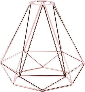 Pendant Light Shade, Lighting Metal Lamp Guard Retro Style Industrial Metal Bird Basket Cage Light Gold Hanging Rubbed Bronze Polygon Wire Pendant Light Art DIY Ceiling Light Fitting (Rose Gold)