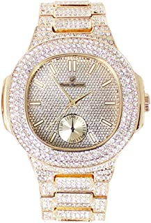 Bling-ed Out Oblong Metal Mens Color on Blast Watch - 8475GoldColor