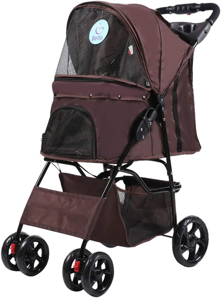 Anyer Pushchair Trolley Pet Stroller Pet Buggy Pet Supplies Four-Wheeled Booster Seats for Small Dogs//Cats Easy to Fold with Large Storage Basket,Black