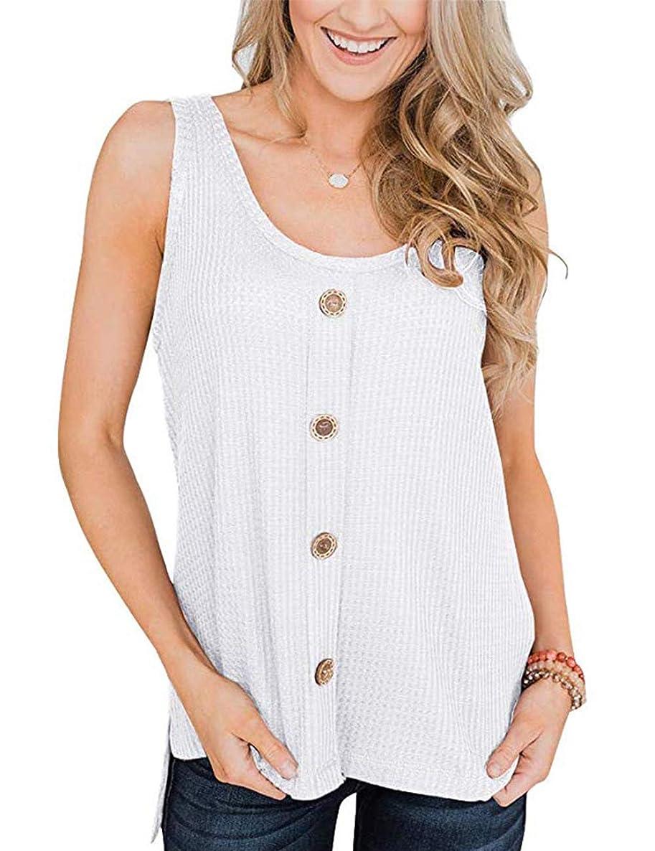 Womens Waffle Knit Tank Tops Button Down Sleeveless Henley Shirts