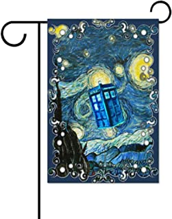 Dr Who Tardis Police Box with Art Design Garden Flag Flag, Garden Decoration Flag, Indoor and Outdoor Flags, Parade Flags, Anniversary Celebrations, National Day, Double-Sided.