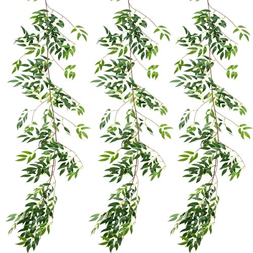 ANPHSIN 3 Pack (16.8ft) Artificial Willow Leaves Vines Twigs- Fake Silk Hanging Willow Plant Greenery Garland String for Indoor Wedding Party Crowns Wreath Decor, Outdoor Wall Garden Decoration
