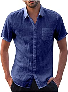 KPILP Mens Cotton Boho T Shirt Button Down Short Sleeve V Neck Hawaiian Style Color Block Printed Mens Basic Tunic Blouse