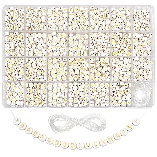 TOAOB - 1440 perline in acrilico con lettere in oro rotondo e motivo a cuore, con filo di cristallo da 15 mm, per bricolage, fabbricazione di braccialetti, collane e gioielli