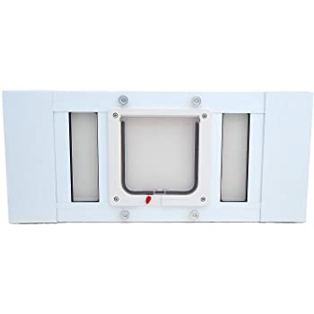 """Aluminum Sash Window Pet Door - Cat Flap - 19""""-24"""" Adjustable Width"""