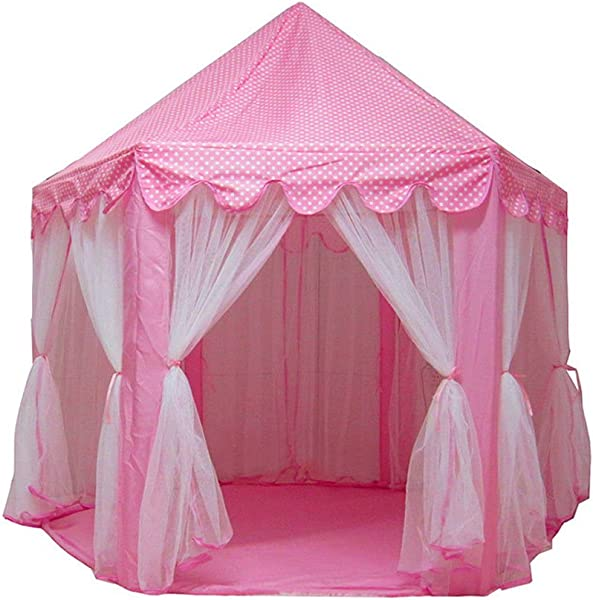 Jskjlkl Princess Castle Play Tent Large Capacity Kids Girls Playhouse Toys For Indoor Outdoor Party Yard Garden 55 11 X 55 12 X 53 15 Color Pink