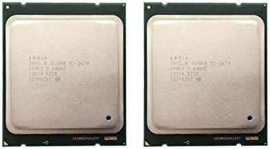 Intel Matching Pair Xeon E5-2670 Eight Cores Processors 2.60GHz 20MB Smart Cache 8.00 GT/S QPI TDP 115W SR0KX BX80621E5267...
