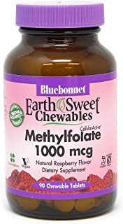 Bluebonnet Earth Sweet Cellular Active Methylfolate 1000 mcg Chewable Tablets, 90 Count
