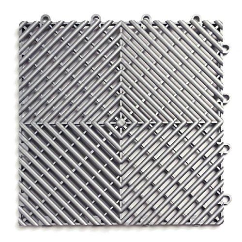 RaceDeck Free-Flow Open Rib Design, Durable Interlocking Modular Garage Flooring Tile (48 Pack), Alloy
