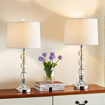 Set of 2x Modern Clear Ribbed Glass Chrome Detail Table Lamp Bedside Light Bases