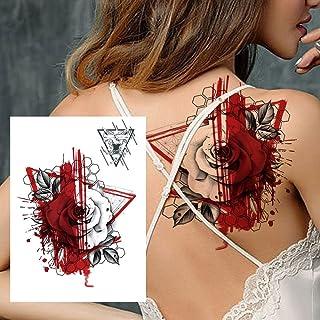 Blauwe lotusbloem tijdelijke tattoo voor vrouwen meisje 3D vlinder tattoo veer veer rose aquarel sticker borst tattoo-GHB493X