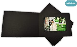 Golden State Art, Acid-Free Photo Folders for 4x6 Picture Horizontal, Pack of 100, Black Cardboard/Paper Frames, Special Events: Graduation, Wedding, Baby Showers