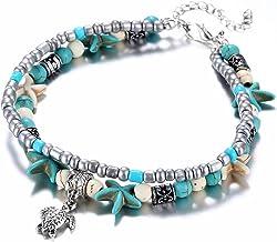 NNZB Mode Fußkettchen - Fußkettchen Nachahmung Perlen Fuß Armband, Sea Star Yoga Strand Fußkettchen Fuß Zubehör für Frauen Mädchen Lady Geschenke