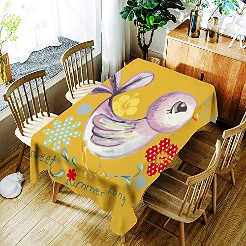 Tafelkleed Cartoon Schattige Kleine Kip Kinderen Verjaardagsfeestje Thema Waterdicht Tafelkleed Rechthoek 55X78 Inch