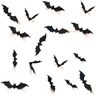 Halloween 3D Bats Decoration, Hallowmas Party Supplies Scary Bat Sticker for Home Decor DIY Window Decal Bathroom Indoor (...