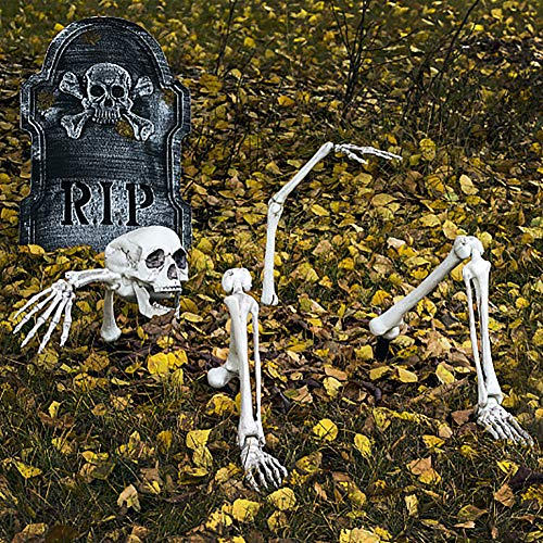 Halloween Skeleton Bones and Skull for Graveyard Ground Decoration,Halloween Decorations Outdoor