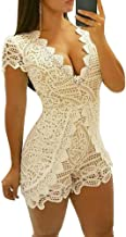 Juleya Frauen Sexy Overalls Sleeveless Hohe Taille Spitze Elegant Comfy Club Bodycon Strampler