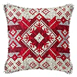 LAPATAIN Latch Hook Kits for DIY Throw Pillow Cover,Flower Pattern Needlework Cushion Cover Hand Craft Crochet for Great Family 16.5x16.5inch