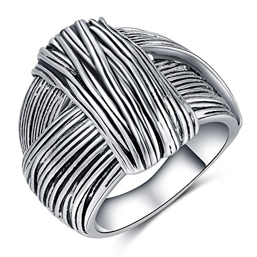 Shefashion Silver Oxidized Knot Large Statement Rings Womens Chunky Rings Thumb Rings for Women Silver