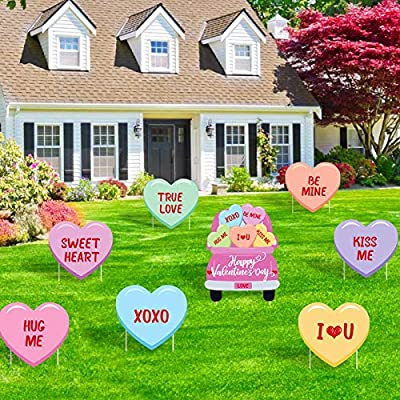 8PCS Valentine's Day Yard Signs Conversation Hearts Signs with Stakes Valentine Candy Heart Truck Love Signage Cutouts Lawn Decorations Sweethearts Candy Sayings Wedding Bridal Shower Outdoor Decor