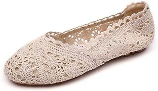 Meeshine Women's Ballet Shoes Lace Crochet Floral Breathable Slip On Flats